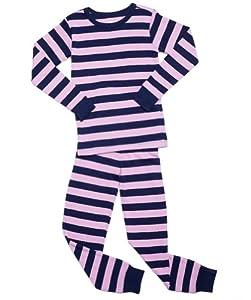 "Leveret ""Pink & Brown"" Striped 2 Piece Pajama Set 100% Cotton (Size 6M-5T)"