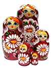 White Chamomiles Nesting Dolls 5-pc 7H in Burgundy