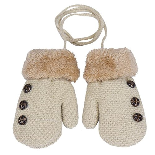Amiley Baby Kids Boy Girl Button Decor Winter Warm Mittens Gloves with String (Beige)