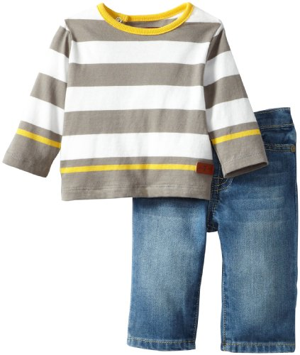 Best Seven for All Mankind Baby-boys Newborn Long Sleeve Jersey Tee/Jean Set, Medium Indigo, 3-6 Months