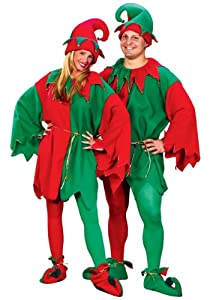 Fun World Costumes Men's Adult Promotional Elf Set. Hat Tunic Shoes, Red/Green, One Size