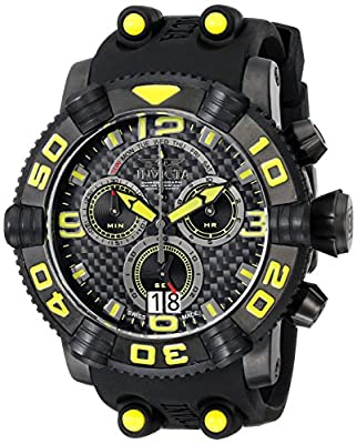Invicta Men's 12258 Sea Hunter Chronograph Black Carbon Fiber Dial Black Polyurethane Watch
