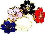 おまかせ色10個 シルバー ゴールド縁どり 小さな 桜 モチーフ 校章風 ピンバッジ