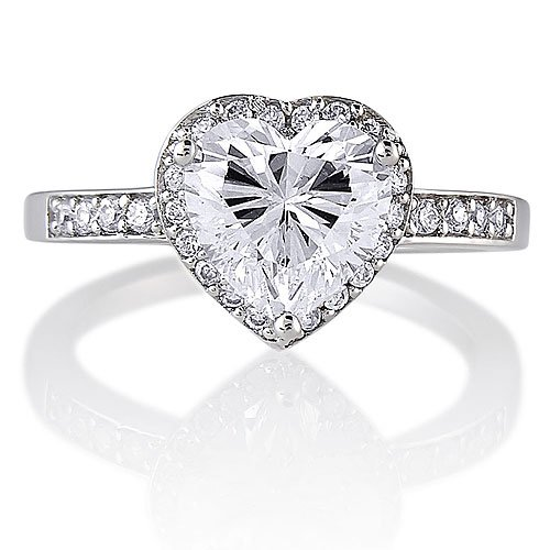 Sterling Silver 925 Heart Cubic Zirconia CZ Ring - Nickel Free Engagement Wedding Ring Size 9