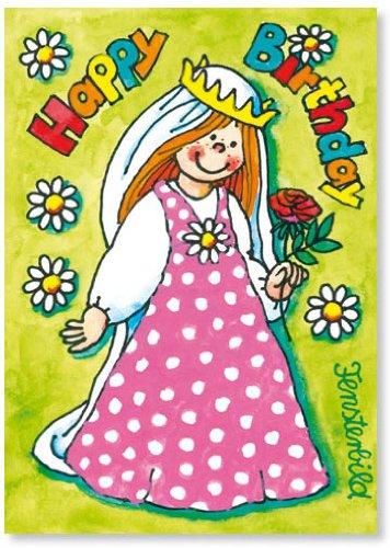 Fensterbild * Happy Birthday Prinzessin * als Einladungskarte von LUTZ MAUDER // Fensterbilder Aufkleber Sticker Geschenk Bild Karte Mädchen Pferd Kindergeburtstag Geburtstag Postkarte Einladungskarten Einladung Herzlichen Glückwunsch