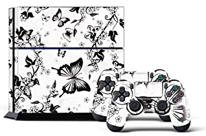 PS4 Designer Skin for Sony PlayStation 4 Console System plus Two(2) Decals for: PS4 Dualshock Controller - White Blossoms & Butterflies