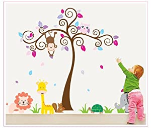 OneHouse Colorful Tree with Monkey Giraffe Lion Elephant and Owl DIY Wall Decal Nursery Room Decals from OneHouse