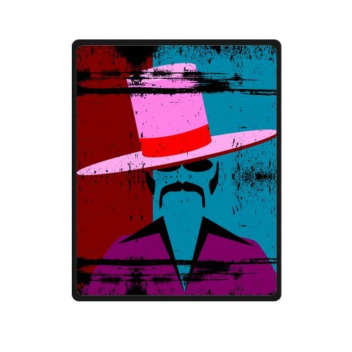 Personalized Fashion A Gentleman With Hat, Glasses And Mustache Picture Fleece Blanket 40 X 50 back-1075592
