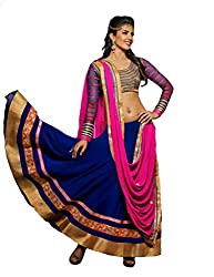 Metroz Blue and Pink Georgette Embroidered Lehenga Choli with Dupatta