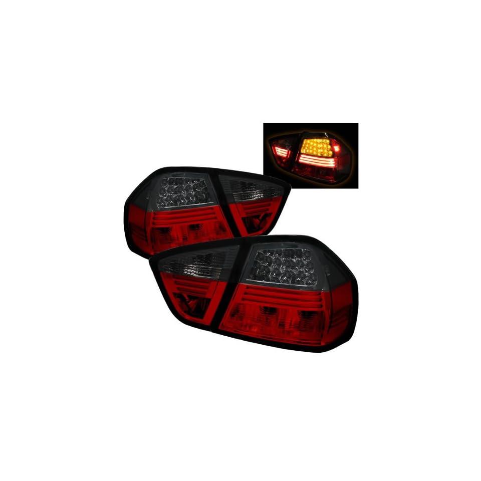 BMW E90 3 Series 325i 330i 335i M3 2005 2008 4DR LED Tail Lights   Red Smoke