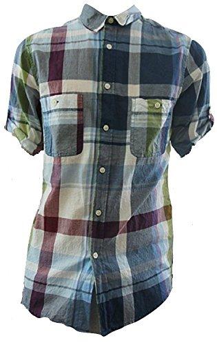 Topman -  Camicia Casual  - A quadri - Uomo Multicolore Green / Blue Check Small