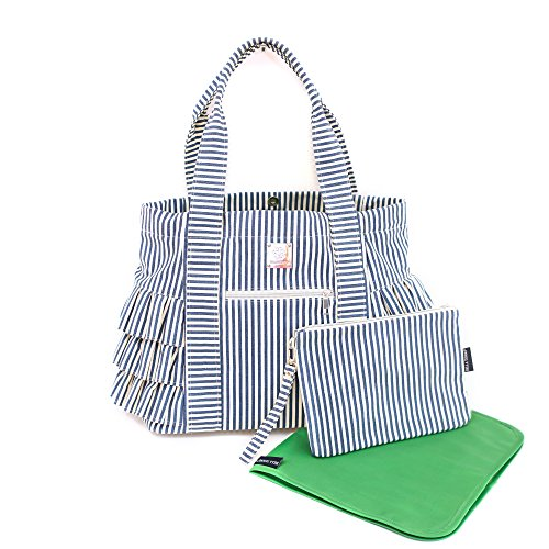 Bella Tunno Peplum Tote Classic Canvas Baby Bag, Navy Stripe