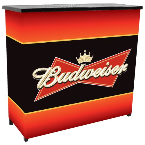 Trademark Budweiser Metal 2 Shelf Portable Bar Table With Carrying Case front-498815