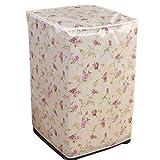 【雨や風から守る!】洗濯機カバー フラワー柄 (アイボリー×ピンク)