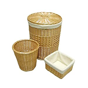 Seville Classics Hand Woven Willow Hamper, Waste and Utility Basket
