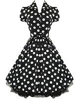 Tiger Milly - Robe Tea Party Noir Motif Gros Pois Blanc Style Année 50