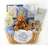 Shades of Blue New Baby Boy Gift Basket - Complete Newborn Layette - Great Shower Gift Idea for Newborns
