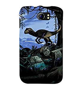 Printvisa Animated Dinosaur Causing Distruction Back Case Cover for Micromax Canvas 2 A110