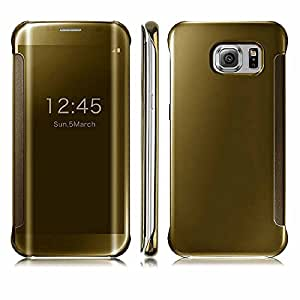 ROKAYA™ Clear Mirror Flip case cover for Samsung Galaxy Note 5- GOLD