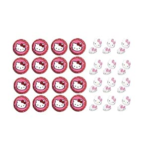 12 Hello Kitty Birthday Party Cupcake Decoration Picks, Rings & Baking Cups