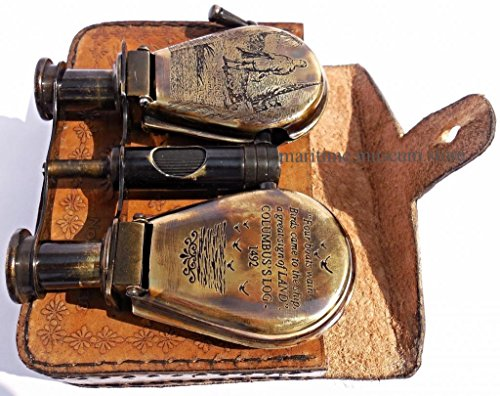 Steam-Punk Antique Beautiful Vintage Style Brass R & J Beck Shell Binocular With Leather Case. C-3131
