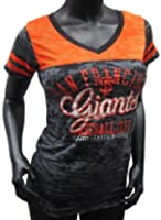 San Francisco Giants Black Coop Distressed Logo Ladies Jersey Style Burnout T-shirt by G-III Sports