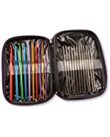 22 Multi-colour Aluminum Crochet Hooks Needles Yarn Weave Knit Craft Set w/ Case