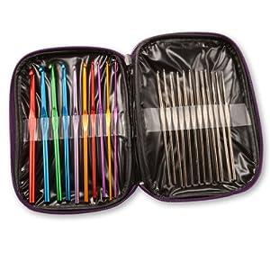 22 Multi-colour Aluminum Crochet Hooks Needles Yarn Weave Knit Craft Set w/ Case