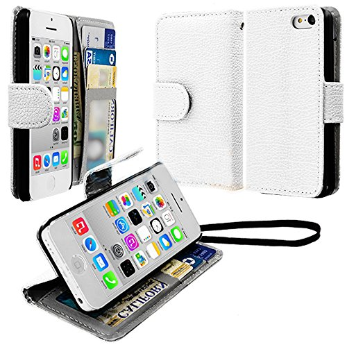 Mylife (Tm) Bright White {Classic Design} Faux Leather (Card, Cash And Id Holder + Magnetic Closing + Hand Strap) Slim Wallet For The Iphone 5C Smartphone By Apple (External Textured Synthetic Leather With Magnetic Clip + Internal Secure Snap In Hard Rubb
