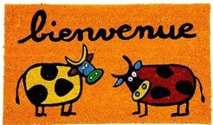 Paillasson orange bienvenue design 2 vaches - Paillasson en anglais ...