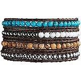 Rafaela Donata - Bracelet en cuir véritable - Cuir véritable jaspe, bracelet jaspe, collier en cuir véritable, bijoux en cuir - 60831018
