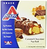 Atkins Snack Bars, Caramel Chocolate Nut Roll, 1.6 oz Bar, 5 Count