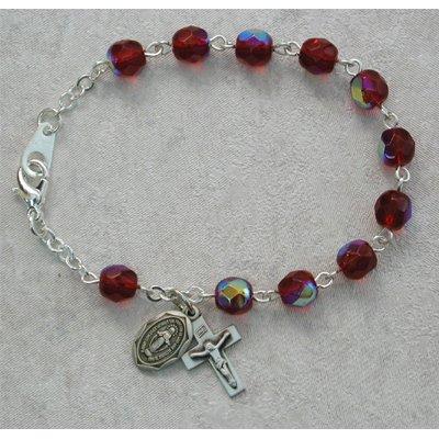 Sterling Silver Youth Girls Rosary Bracelet Garnet January Birthstone.
