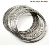 200 Loops, Silver Tone Memory Beading Wire 0.6mm thick 80-85mm Dia. Packet of 200 loops