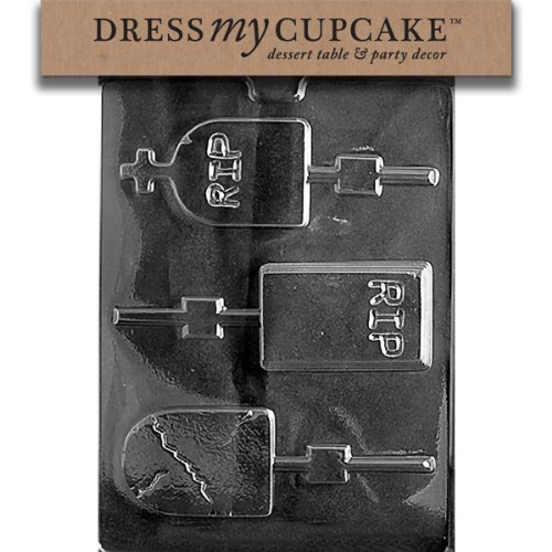 Dress My Cupcake DMCH119 Chocolate Candy Mold, Assorted Size Headstones, Halloween dress my cupcake dmckitd108 chocolate candy lollipop packaging kit with mold high heel shoe lollipop