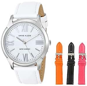 Anne Klein Women's AK/1165INST Silver-Tone Interchangeable Leather Strap Box Set Watch