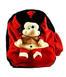 Richy Toys Mickey Mouse Cute Teddy Soft Toy School Bag For Kids, Travelling Bag, Carry Bag, Picnic Bag, Teddy Bag (Red)