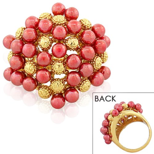 Stainless Steel Yellow Gold Plated Gold Plated Red Pearls Cocktail Womens Ring (7)