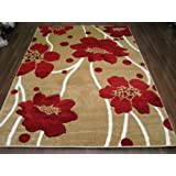 Verona Poppy Beige/Red 120x170 Hand Carved Top Quality Approx 6X4 Top Quality Rugs