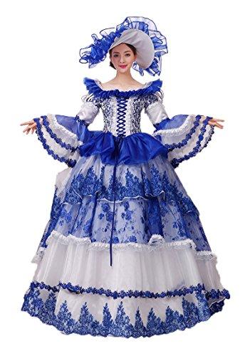 Zukzi Women's Gothic Royal Ruffles Fancy Lolita Dress with Free Petticoat, Customized, Blue (Colonial Gown Costume)