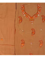 Exotic India Bone-Brown Salwar Kameez Fabric From Kashmir With Sozni Han - Brown