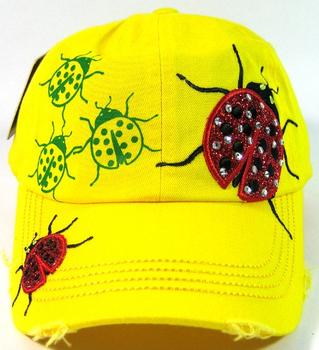 Rhinestone Ladybug Glitter Vintage Baseball Hats Fashion - Lemon Yellow at Amazon.com