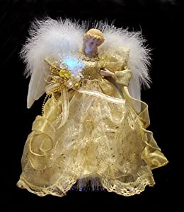 "12.5"" Seasons of Elegance Gold Lighted Fiber Optic Angel Christmas Tree Topper"