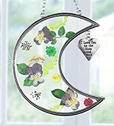 I Love You to the Moon and Back Suncatcher with Real Pressed Flowers in Glass and Silver Metal Heart Shaped Engraved Charm - Gift for a Loved One Wife Girlfriend Fiance from Banberry Designs