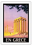 En Grèce (in Greece) - Ancient Temple of Zeus - Athens, Greece - Vintage World Travel Poster by Pierre Commarmond c.1930s - Fine Art Rolled Canvas Print - 27in x 40in