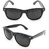 2er SET sténopé verres / lunettes trou pour la formation des yeux pour se détendre, les verres de la grille avec temples pliables, forme B, Noir - Marque Ganzoo