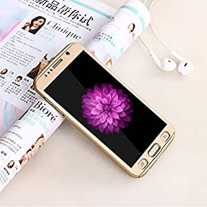 SDO™ Protective Slim Fit Case 360 All-Round Hybrid Body Cover with Tempered Glass for Samsung Galaxy S7 Edge (Champagne Gold)