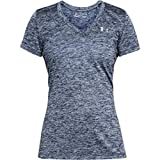 Under Armour Women's Tech V-Neck Twist Top, Academy (408)/Metallic Silver, Large
