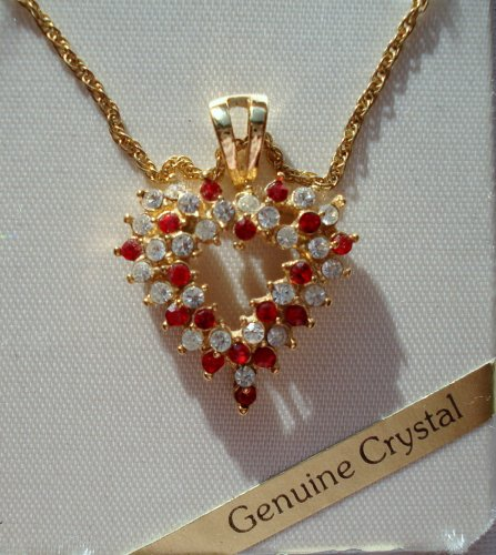 Red and White Crystal Heart Necklace By Roman