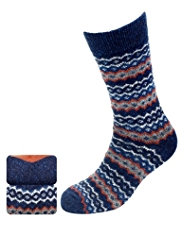 2 Pairs of North Coast Fair Isle Socks with Wool